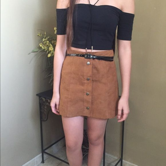 Tan Suede Button down a-line skirt Like topshop | Brandy melville ...