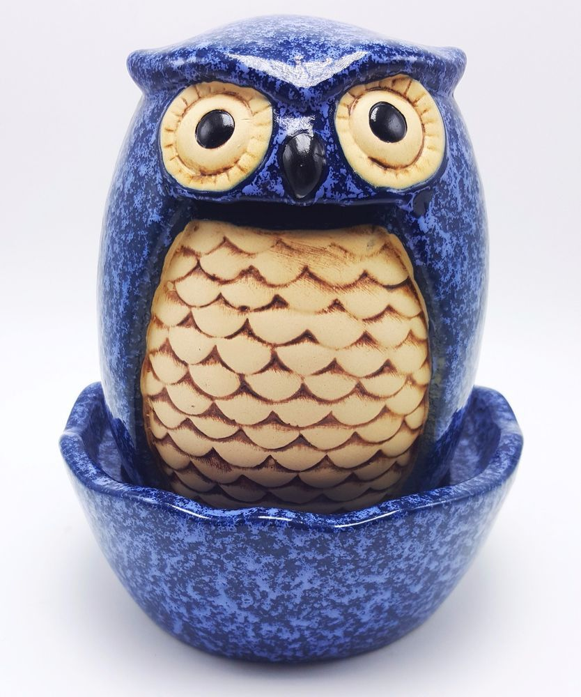Crafty Blue Owl Table Top Decorative Stoneware Fountain Indoor Outdoor 8in New #Unbranded