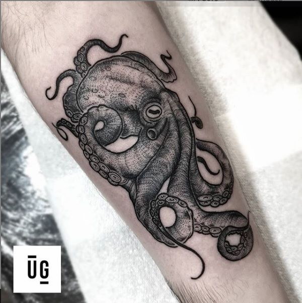 Photo of Black and Grey Octopus Tattoo by Underground Tattoos Stevenage