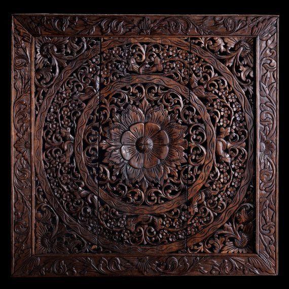Balinese Hand Carved Mdf Decorative Panel Siam Sawadee Carved Wall Decor Carved Wood Wall Decor Decorative Panels