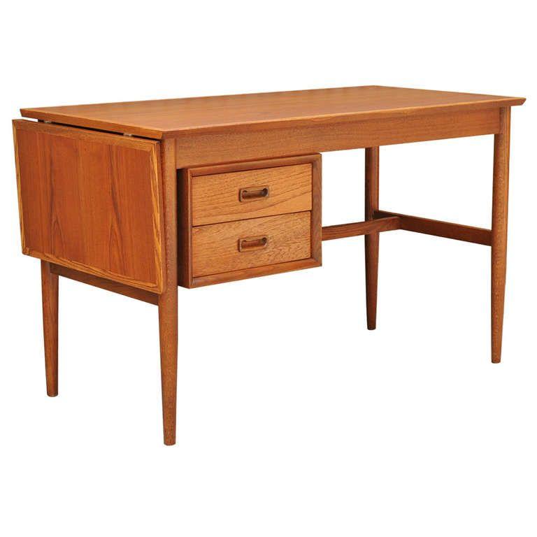 Mid Century Danish Modern Teak Extension Writing Desk Table Arne Vodder Attr