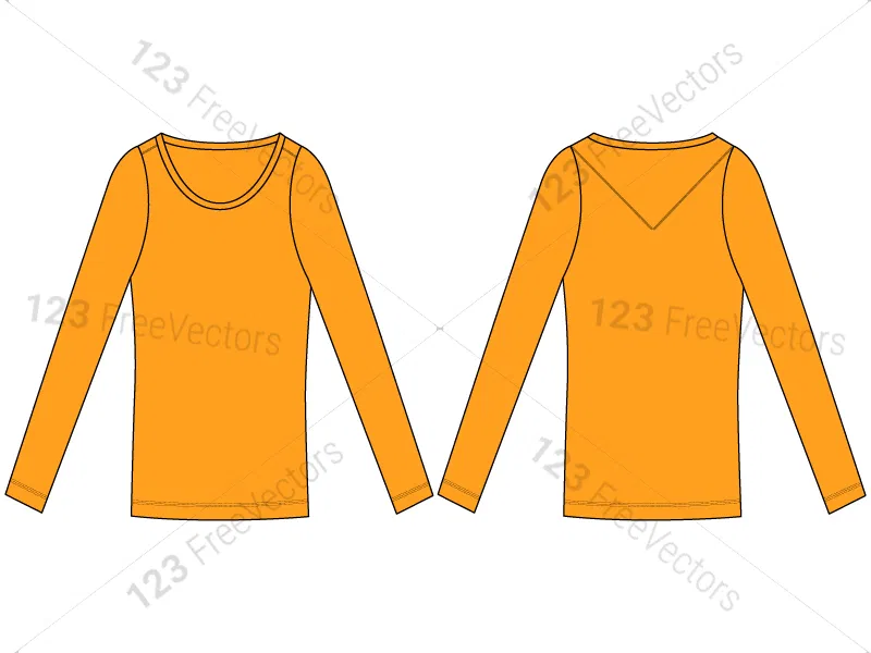 Download Women S Long Sleeve T Shirt Template Vector And Psd Pack 01 Shirt Template Sleeves Shirts