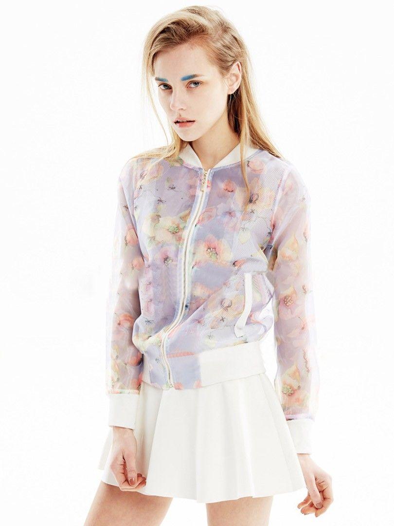 Light Purple Floral Print Long Sleeve Sheer Bomber Jacket Choies Com Fashion Bomber Jacket Style [ 1080 x 810 Pixel ]