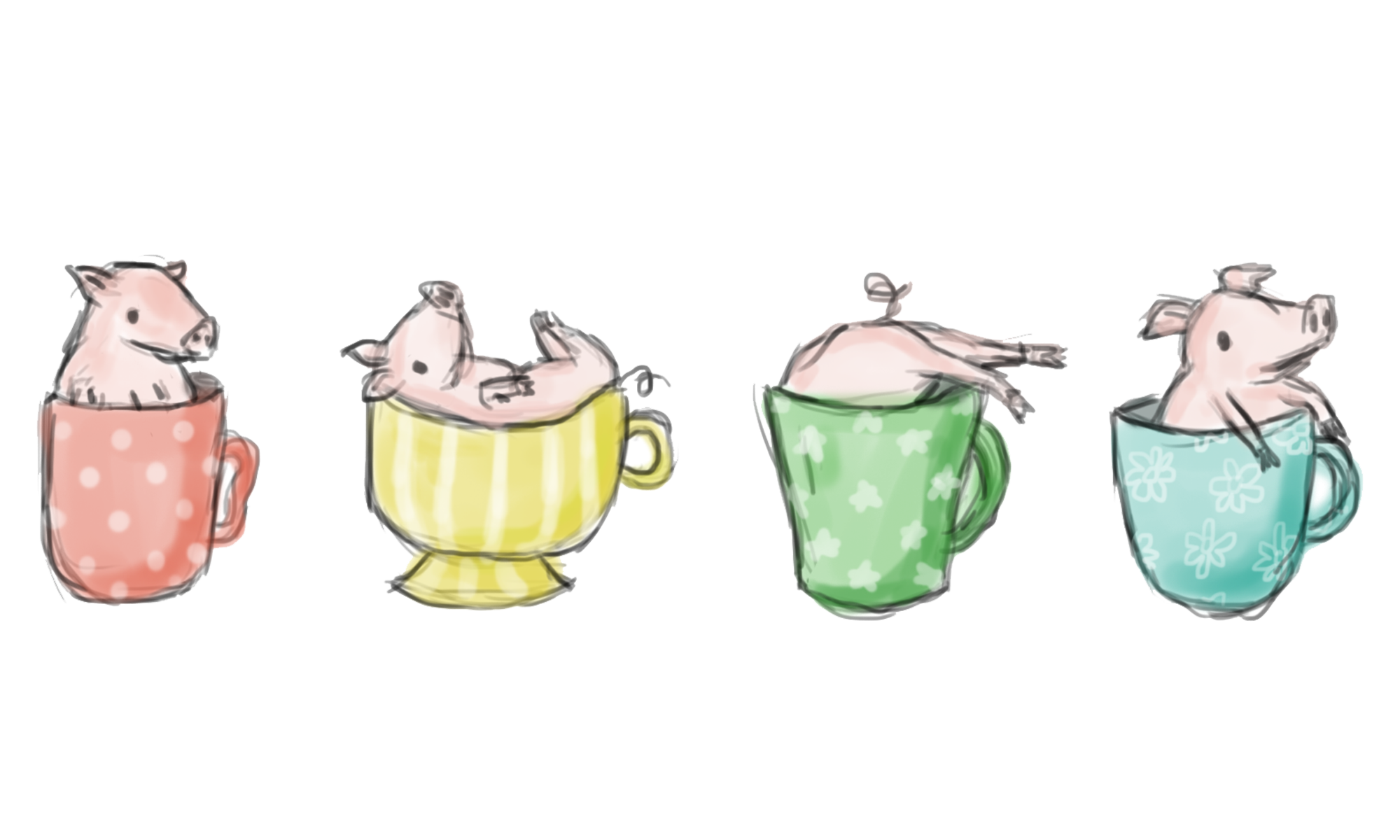 Teacup Pigs, Get them here! http://www.redbubble.com/people/thymeslikethese/works/23659887-teacup-piglets-cute-teacup-animals?asc=u&c=600675-teacup-animals