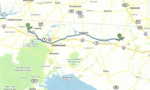 Map Of North Central Florida.Florida Backroads Travel Map Of Route From Quincy To Madison In