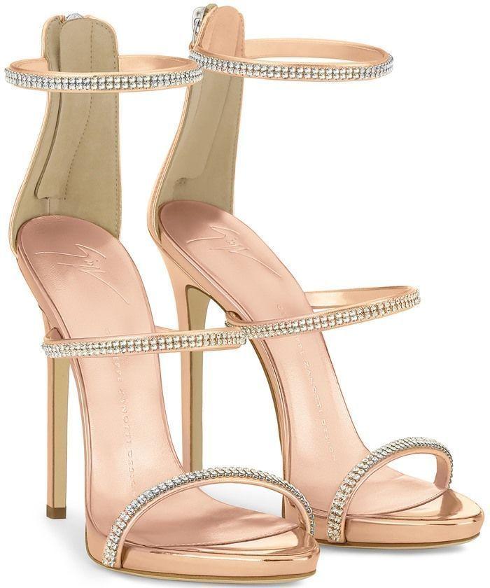 Giuseppe Zanotti Mirrored gold sandal with crystals HARMONY SPARKLE 7yFgSf