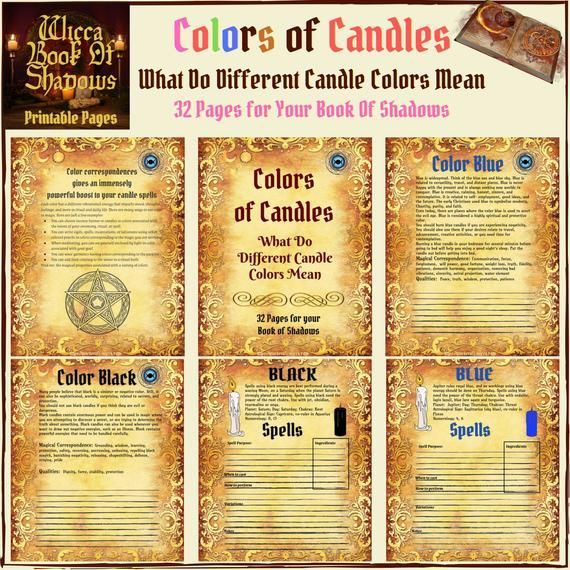 Candles Colors Magical Uses & Wicca Spells Guide - 32 Pages #candlecolormeanings Wicca Colors of Candles and What Do Different Candle Colors Mean? Candles of different colors can be one of the most effective tools used in magic for spells, meditation, rituals, and other ceremonies. Find information about specific candle colors, their meanings, and uses traditionally associated #candlecolormeanings