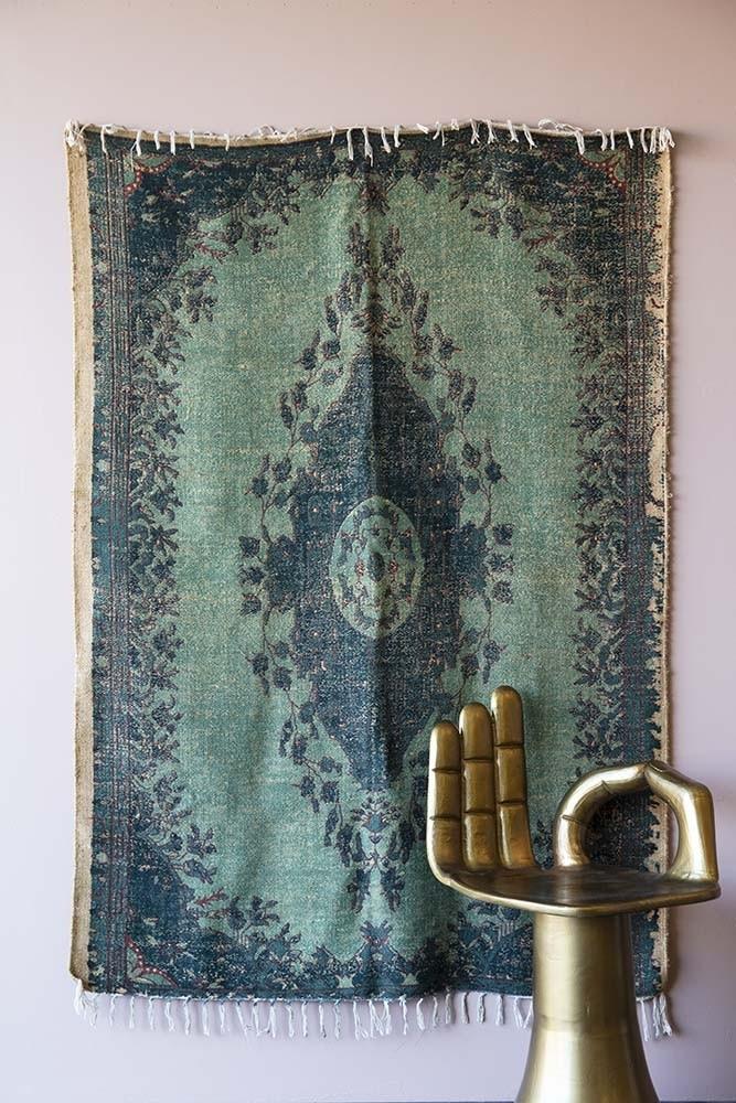 Natural Jute Printed Rug Blue