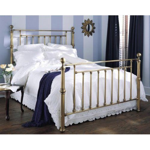 Ameiiii Waldorf Aged Brass Finish Queen Size Metal Bed Home
