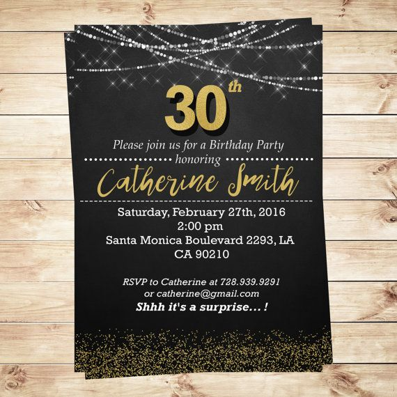 Black Gold Glitter Th Birthday Invitation Th Birthday - Black and white 30th birthday party invitations