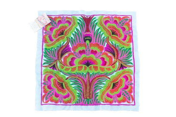 Purple Orchids Tribal Textile Embroidered Craft Fabric Made By Hmong Fair Trade