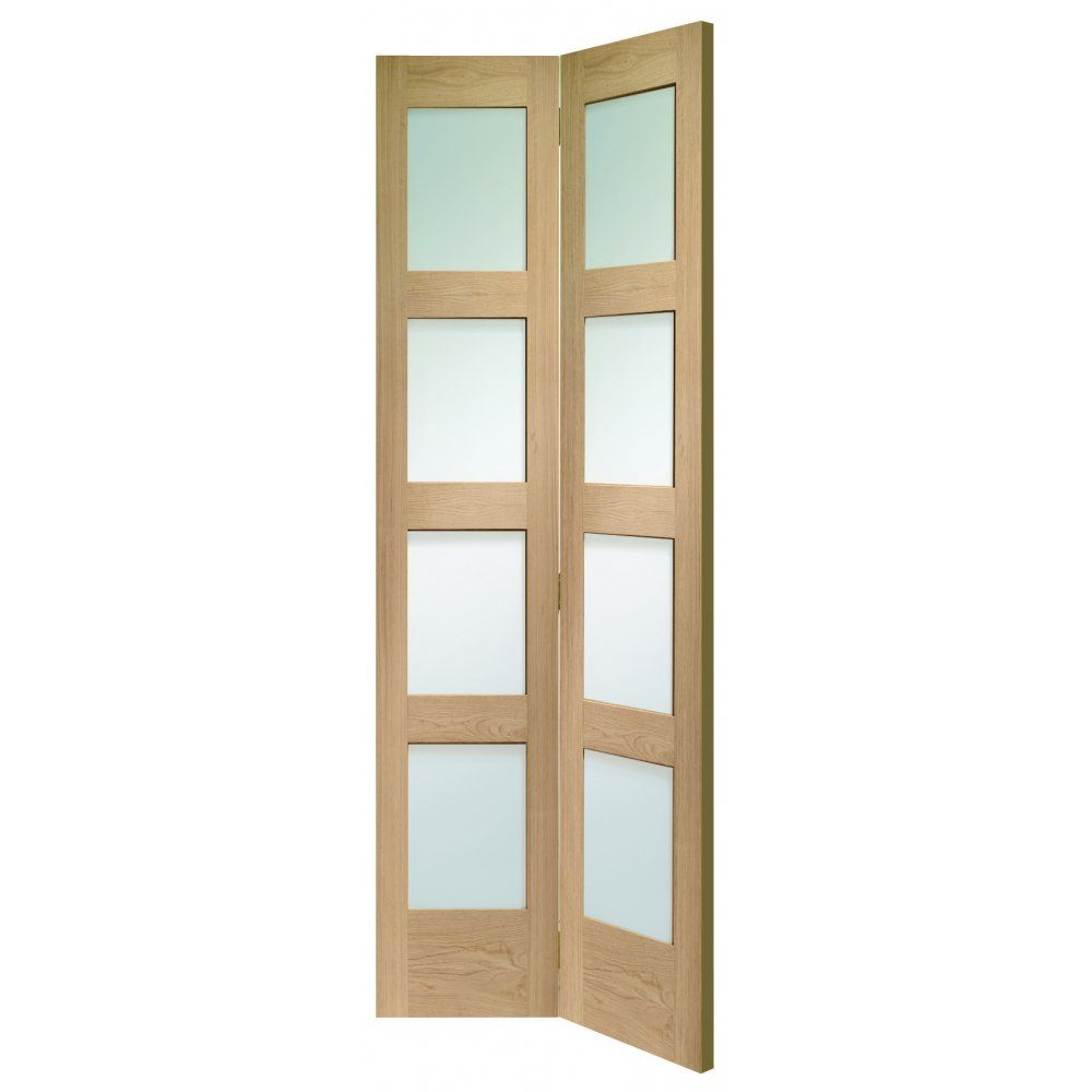 XL Joinery Internal Un-Finished Oak Shaker 4 Panel Bi-Fold Door with ...