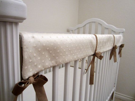 Teething Rail Front Oatmeal & Cream Luxe Cotton by joNanaDesigns, $75.00