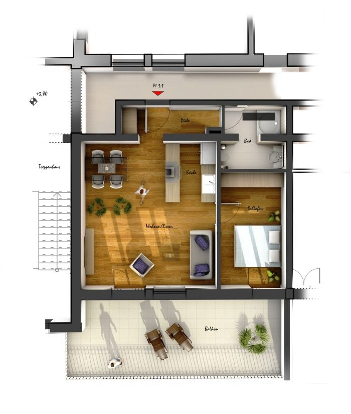 Room 25 One Bedroom HouseApartment Plans