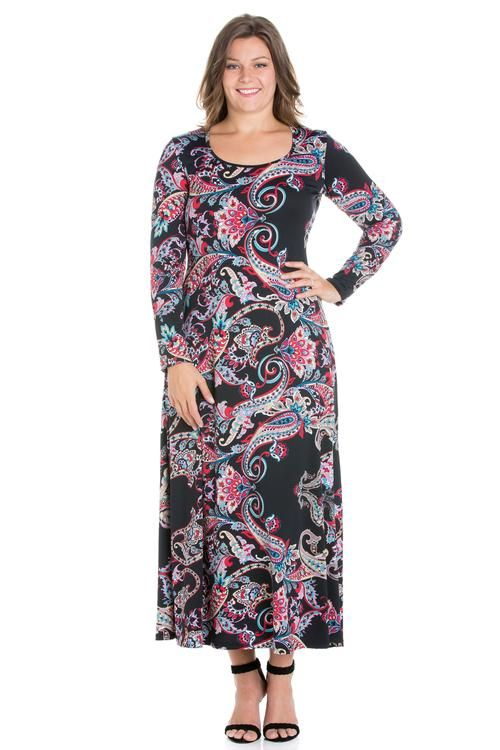 75613177cb0 24seven Comfort Apparel Simply Stylish Women s Long Sleeve Plus Size Maxi  Dress-Dresses-24Seven Comfort Apparel-PRINT-1XL-24 7 Comfort Apparel