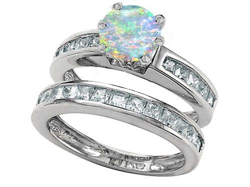 original star k tm round created opal wedding set in 925 sterling silver size - Opal Wedding Ring Sets