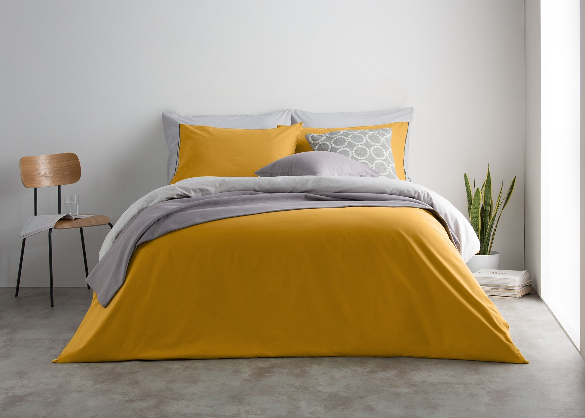 4e4135c9f36b51 Solar 180tc 100% Cotton Reversible Double Bed Set, Mustard/Mist Grey from  Made