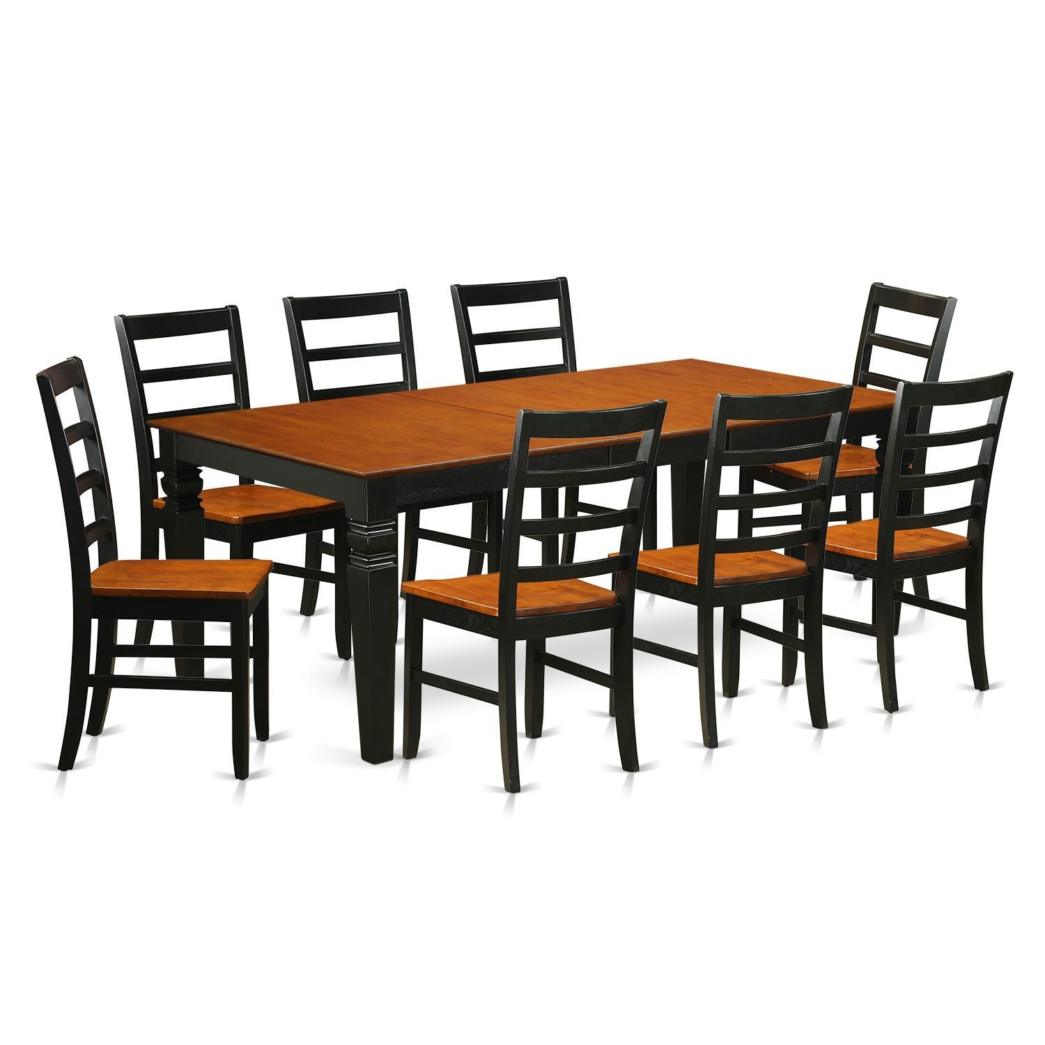 logan 9 piece black and cherry finish dining table and chairs set
