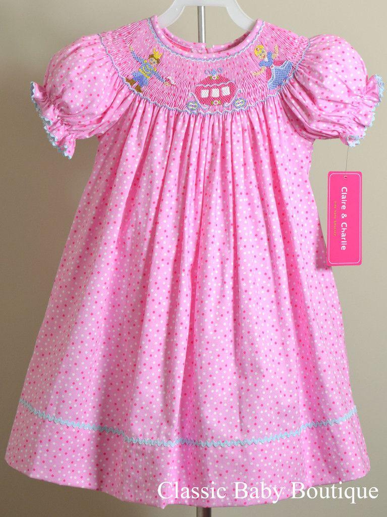 183217c99 Claire & Charlie Girls Pink Dot Cinderella Smocked Bishop Dress 12 18 24 M  2T 3T 4T