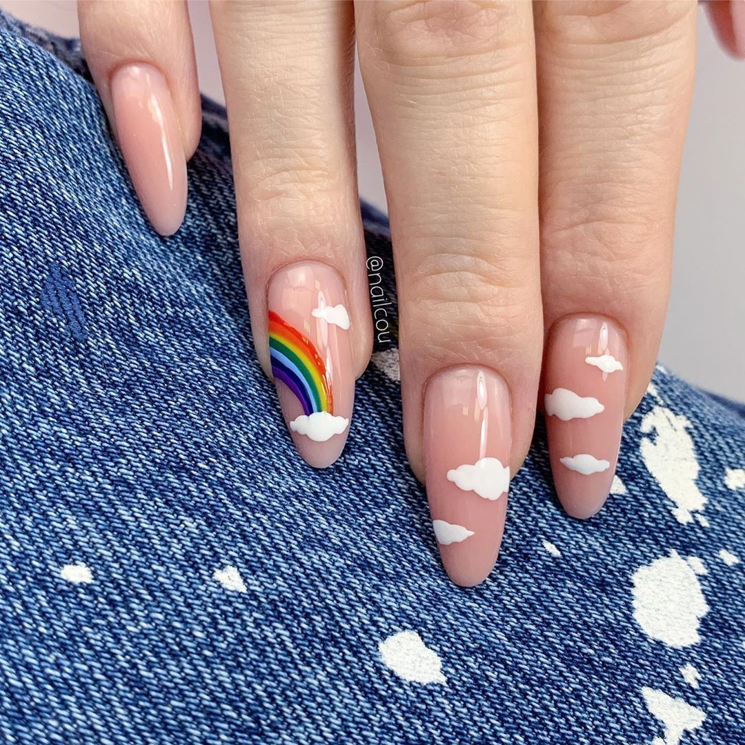 Your Online Nail Educator On Instagram Rainbow Clouds Nail Art Originally These Nails Were Done Wit In 2020 Hard Gel Nails Fall Acrylic Nails Pretty Gel Nails