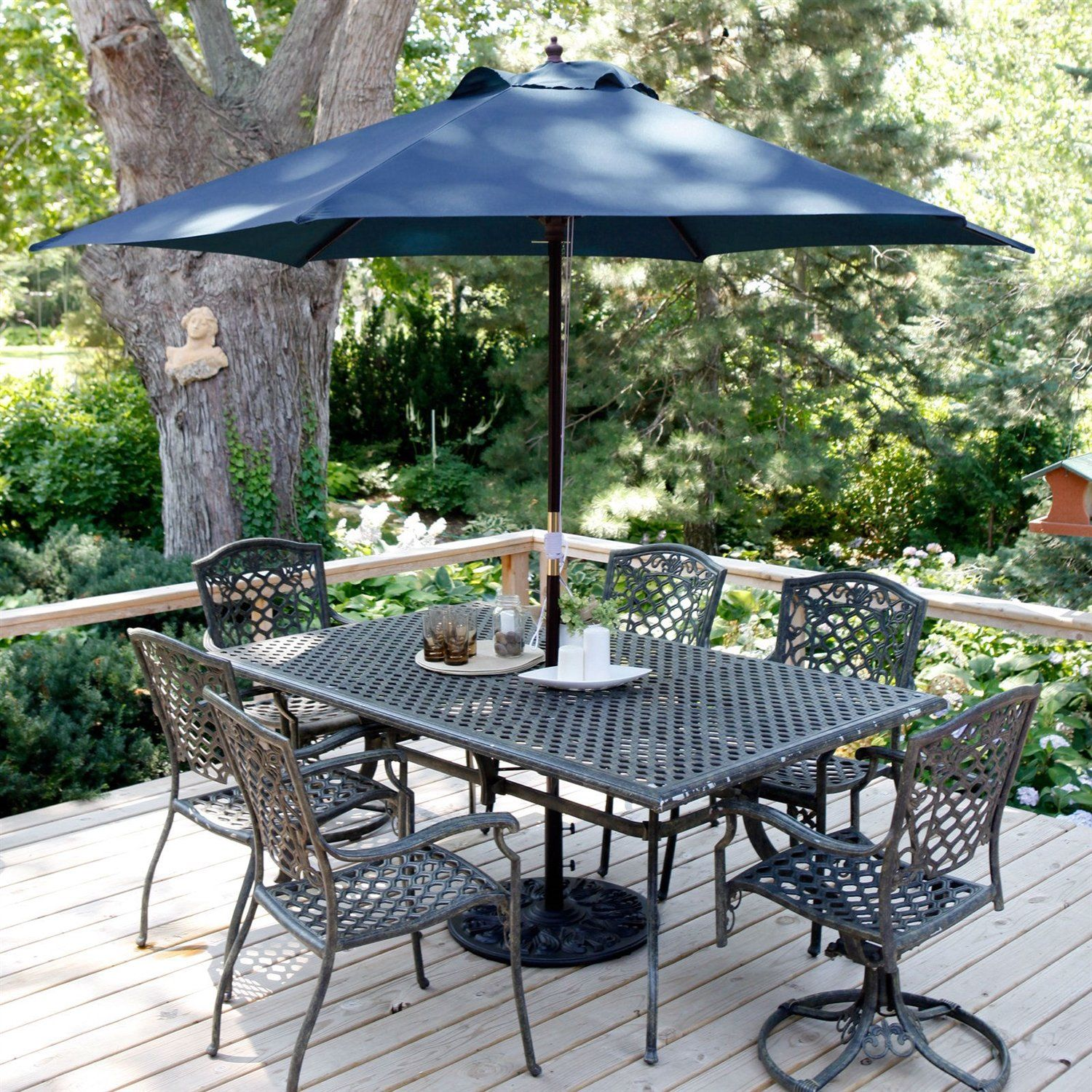Navy Blue 11 Ft Patio Umbrella With Antique Bronze Pole And Base Patio Umbrella Offset Patio Umbrella Patio