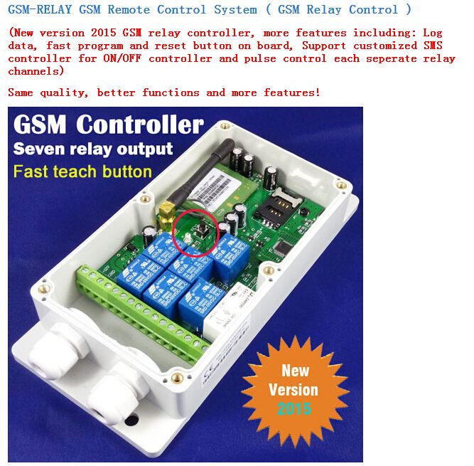 Waterproof 7 relay outputs for doors & gates GSM or 4G Access