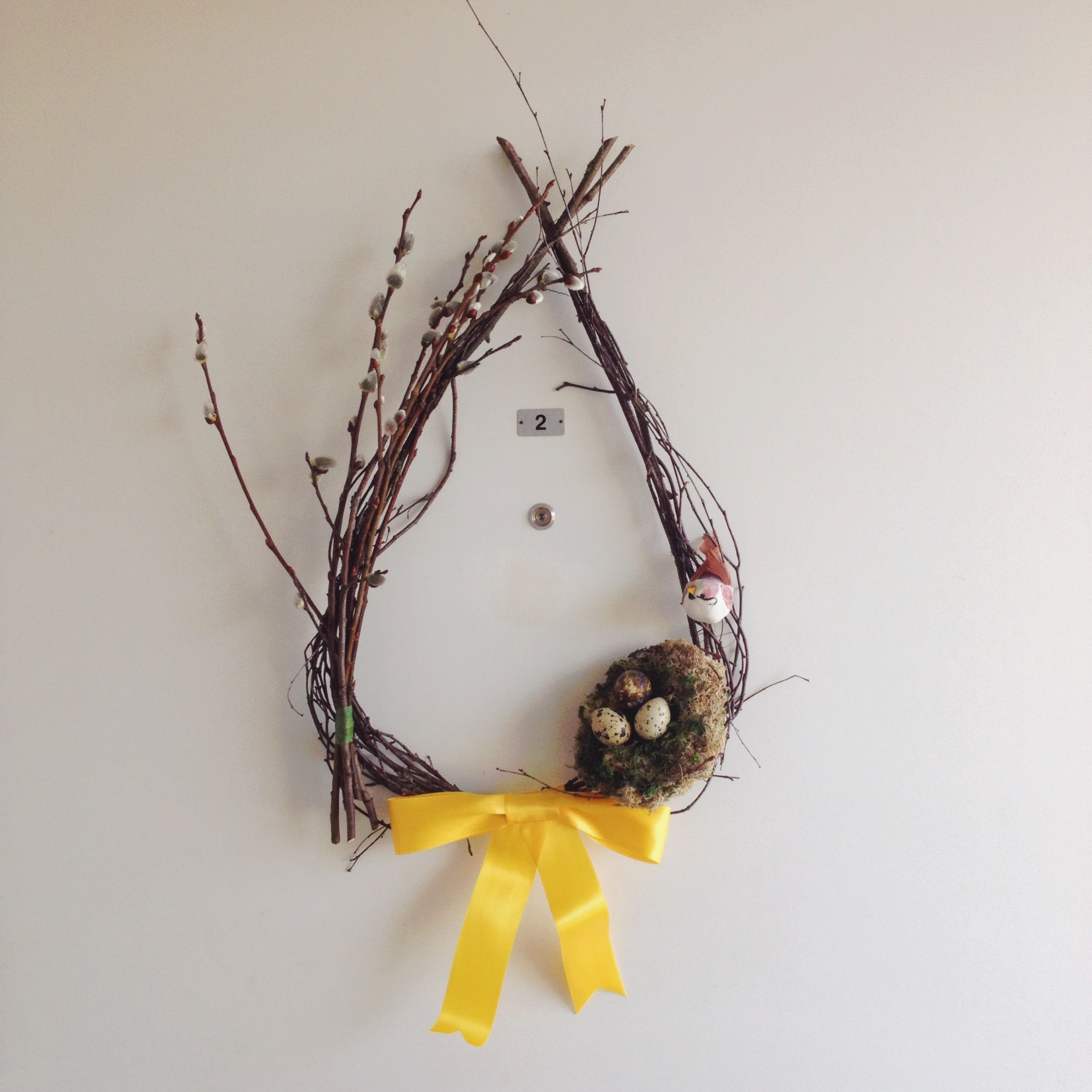 My spring wreath - base is birch branches, with pussy willow, bird and nest as decorations. | bird's nest tutorial from http://www.stonegableblog.com/2013/02/spring-bird-nest-tutorial.html