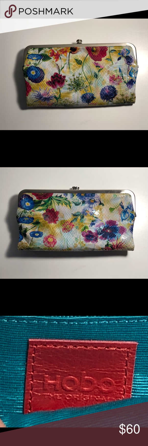 25fd51afe Hobo iconic Lauren leather clutch/wallet Chic floral leather clutch wallet  with multiple credit card slots, slots to hold cash and large clutch  opening.