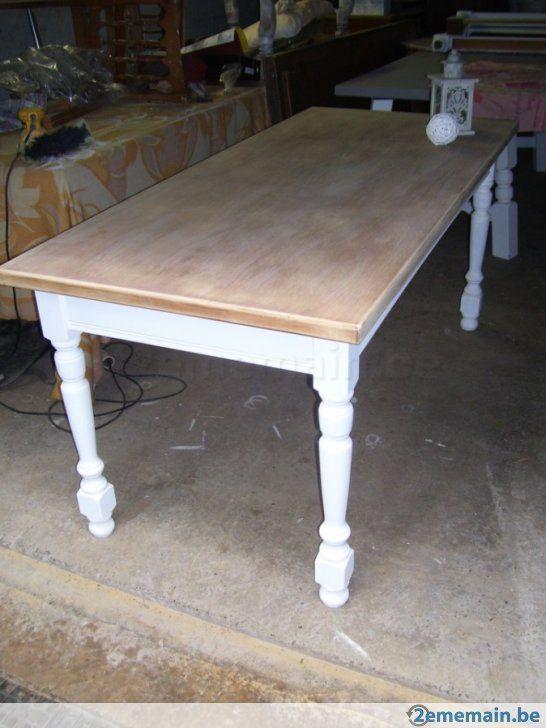 Table Blanche Et Bois Brut