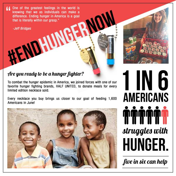 1 in 6 Americans struggles with hunger. 5 in 6 can help. Are you ready to be a hunger fighter??  Every exclusive Half United necklace you buy brings us closer to our goal of feeding 1,600 in June! We can do this. #hungerawarenessmonth #endhungernow