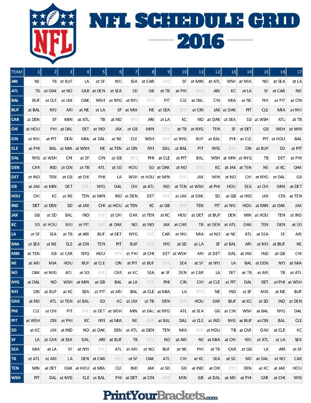photo about Printable Nfl Schedules identified as NFL Entire Time Plan Grid 2016 - Printable Printable