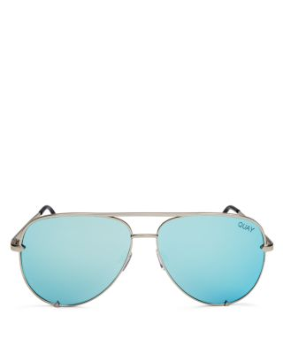 Quay Women's High Key Mirrored Brow Bar Aviator Sunglasses