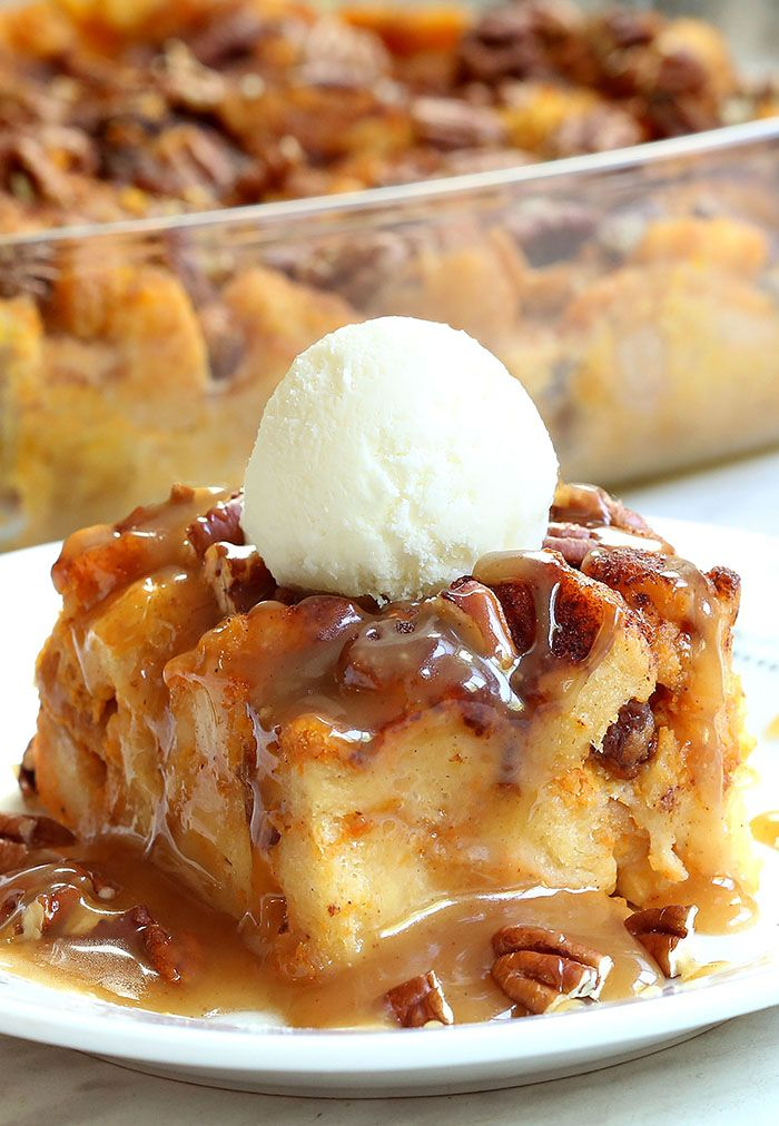 Pumpkin Pecan Bread Pudding - Cakescottage