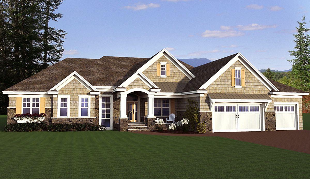 Shingle Style Ranch House Plan 14626RK