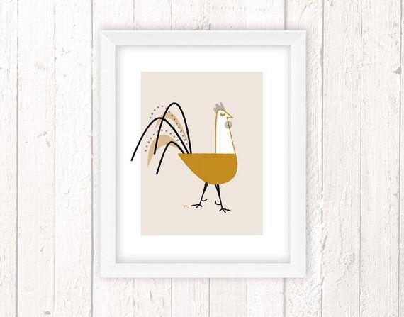 Best Chicken Art Rooster Decor Chicken Art Print Retro 400 x 300