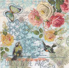 4 X Solo Papel Servilletas Para Mesa Artesanal Decoupage Romántico Flor Azul a4
