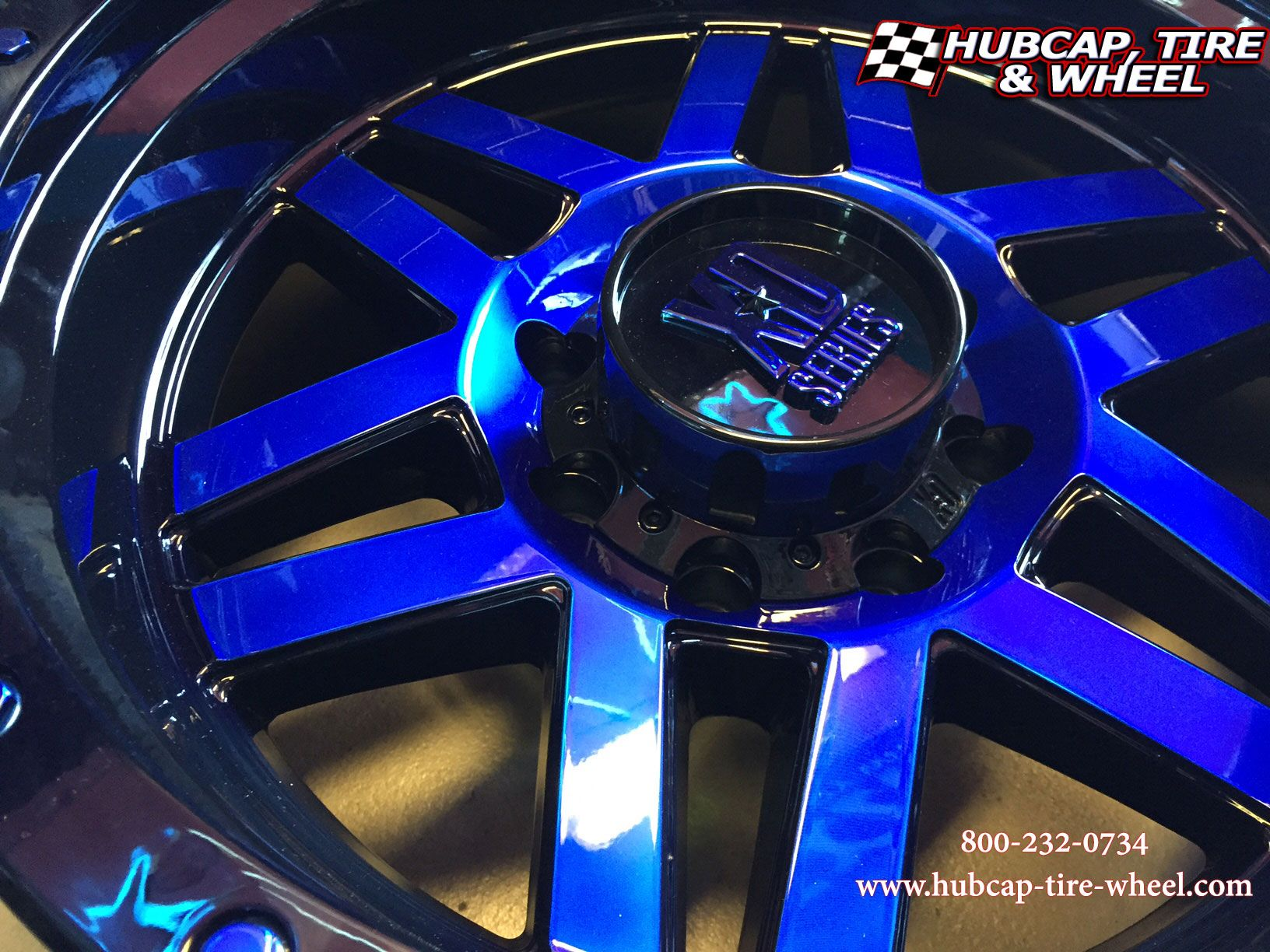 KMC XD Series Rims Machete Black And Machined With Custom Blue Clear Coat Color Paint