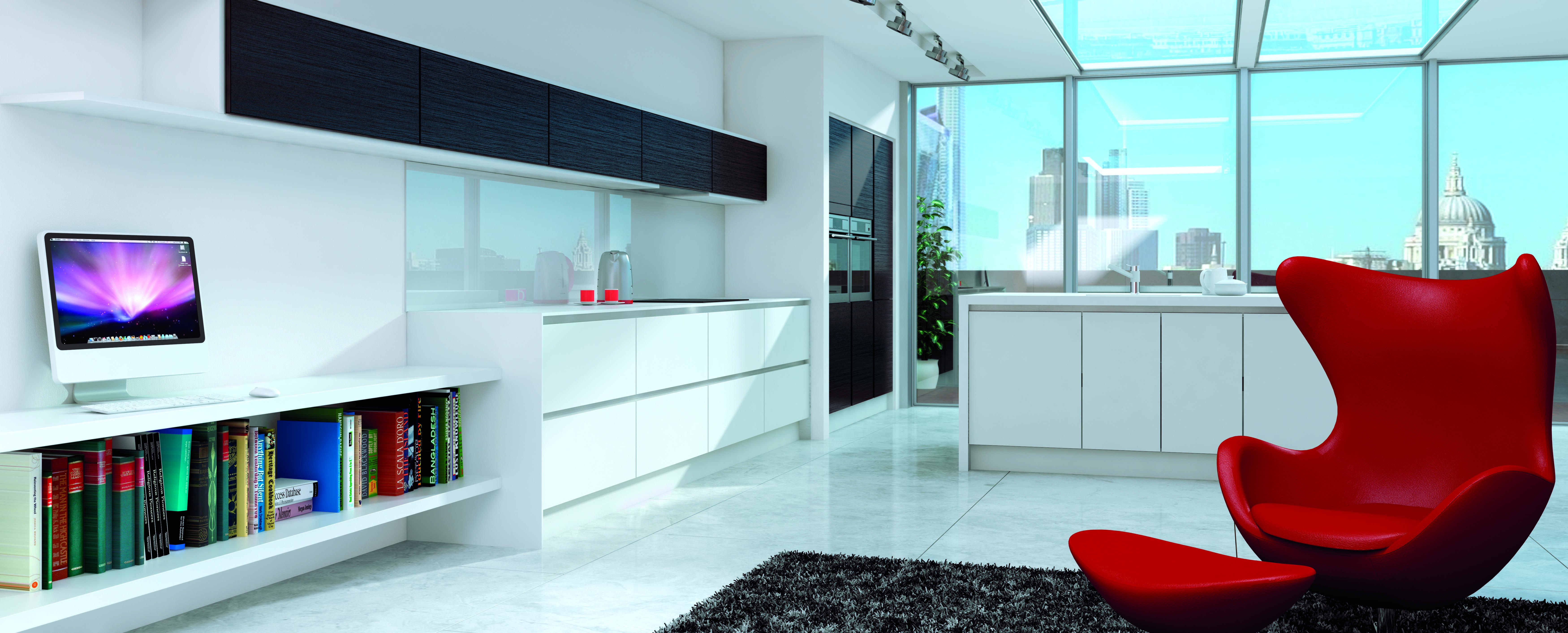 Linear Matt White and Matt Grained Black - handleless kitchen design ...
