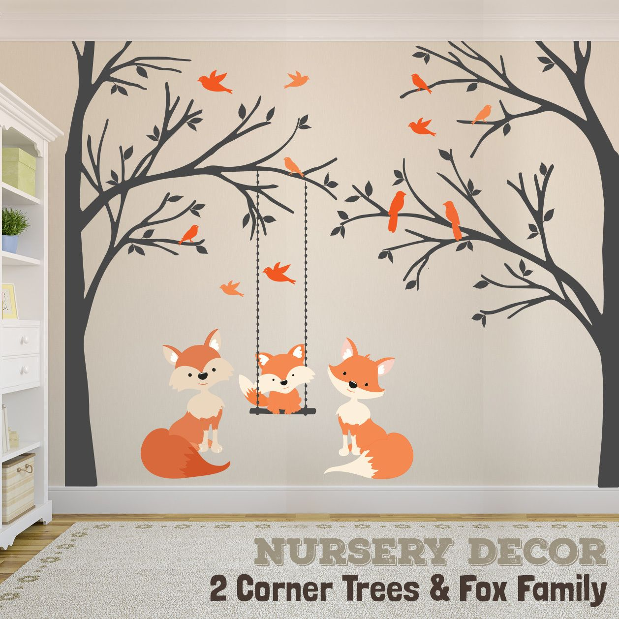 corner trees wall decal orange family fox baby stuff bebe rh pinterest es