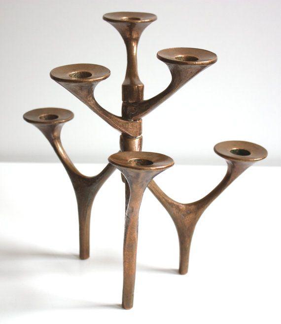 Handmade bronze candlestick, candleholder, 6 arms, Candelabra artist Germany, sculpture vintage