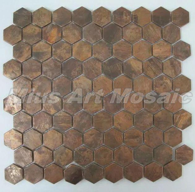 honeycomb hexagon copper tile in bronze brushed mosaic backsplash rh pinterest co uk