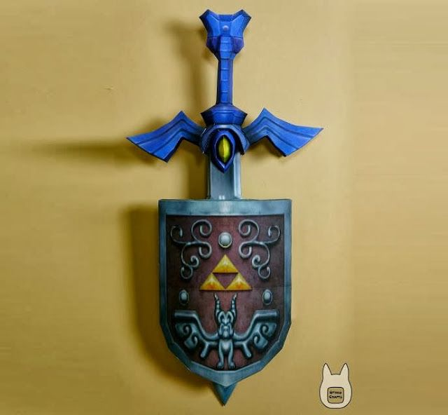Wind Waker Master Sword & Shield Wall Decoration Paper Models With ...