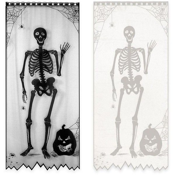 84-Inch Bones Halloween Door/Window Curtain Panel ($27) ❤ liked on Polyvore featuring home, home decor, outdoor lanterns, outside lanterns, halloween home decor, outdoor home decor and halloween lanterns