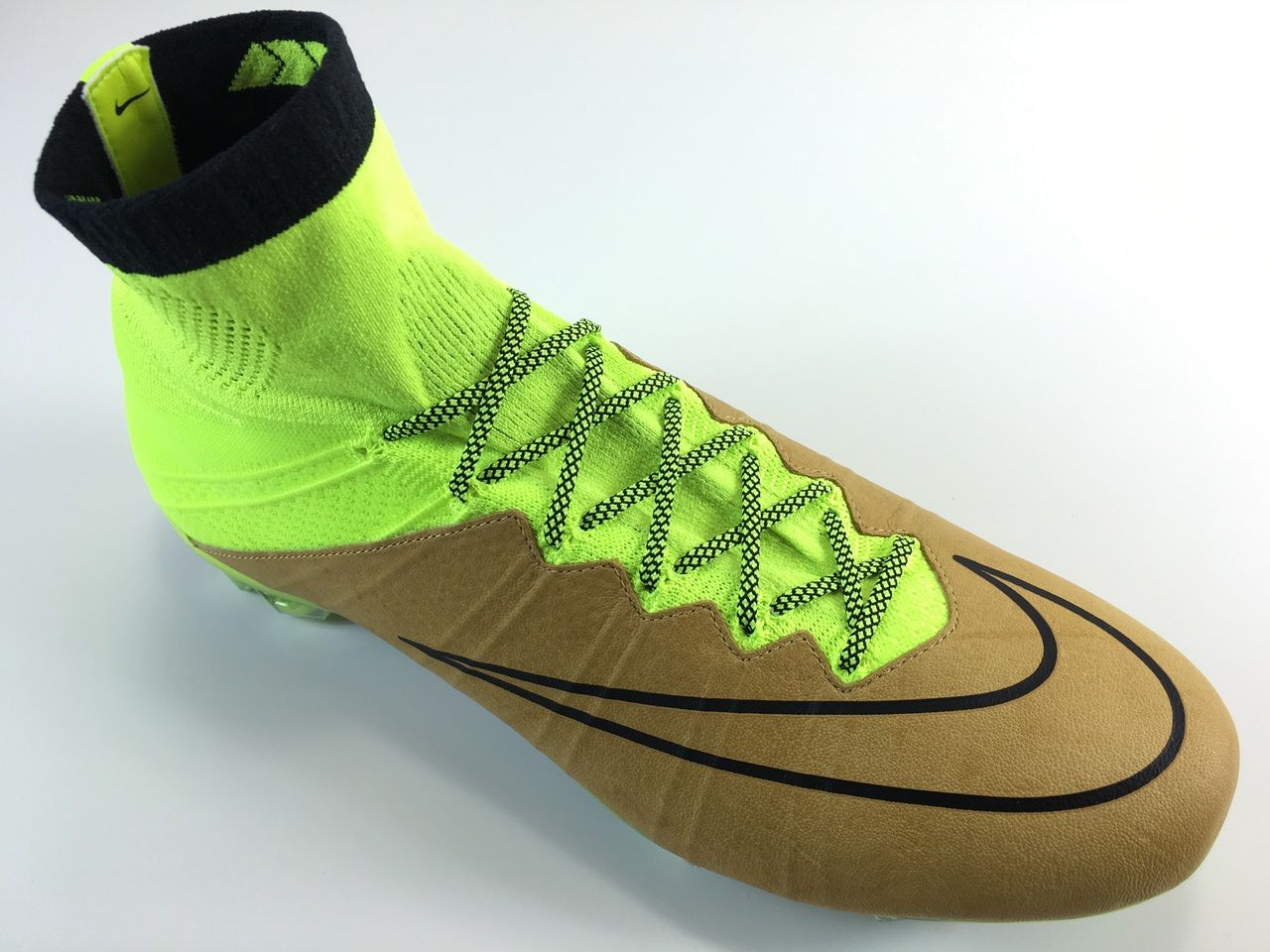 4a444cc1f7a9 ... SR4U Laces Grid Neon YellowBlack Premium Soccer Laces on Nike Mercurial  Superfly 4 Leather ...