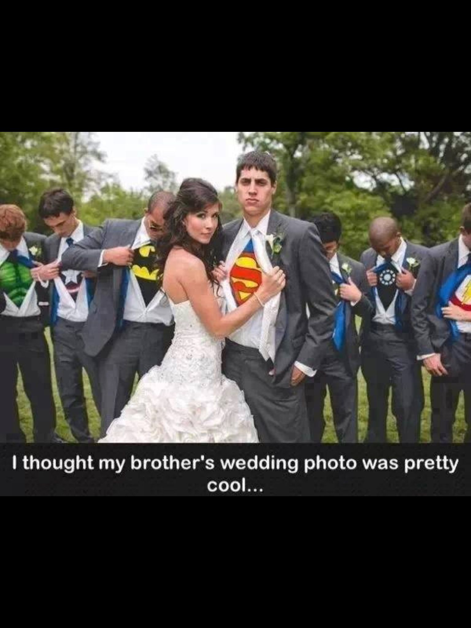cool wedding shot ideas%0A I love how the groomsmen look like they have no idea which super hero  they u    re meant to be  But most importantly the groom knows hes her hero  u   d