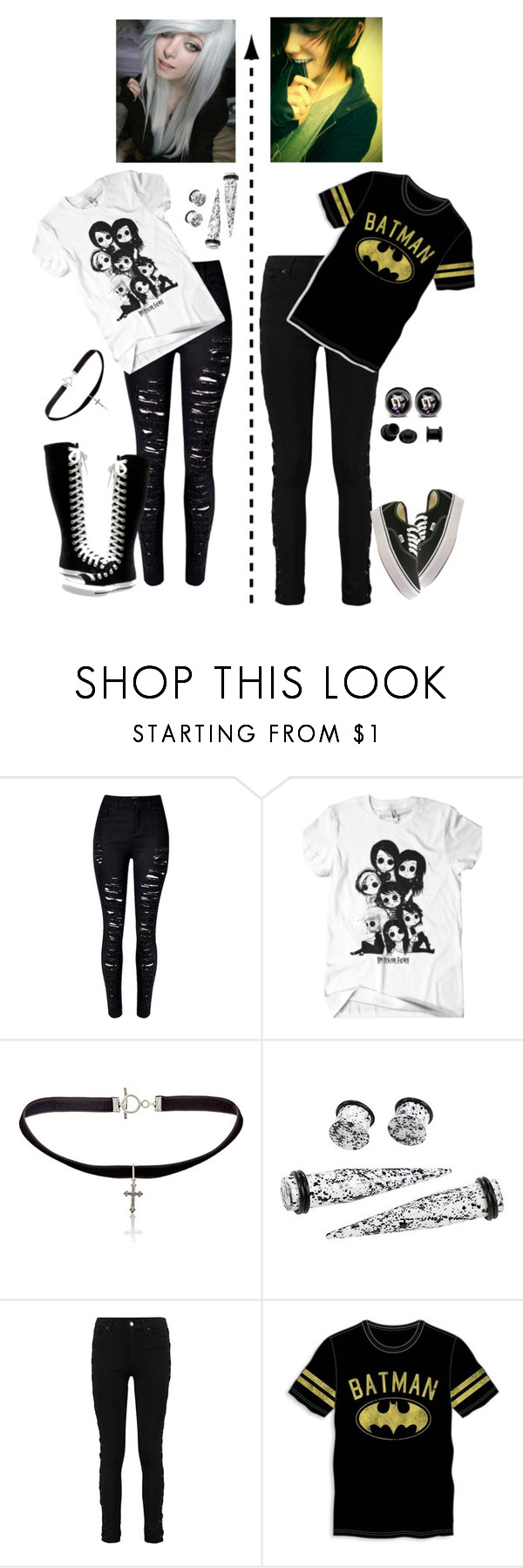 """""""Couple"""" by creepypastalover-15 ❤ liked on Polyvore featuring WithChic, Converse, Yves Saint Laurent, Bioworld and Vans"""