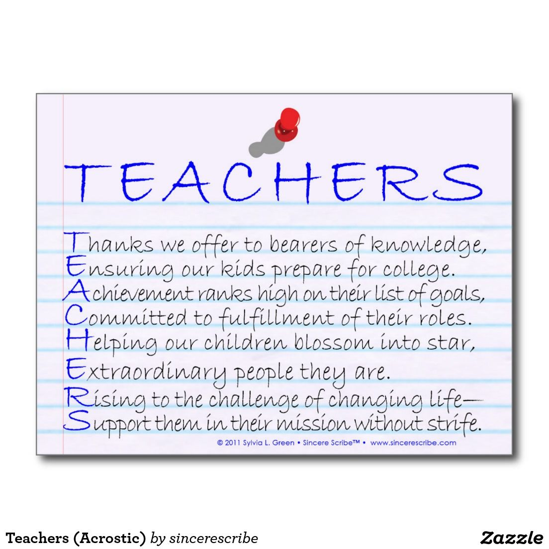 Teachers Acrostic Postcard