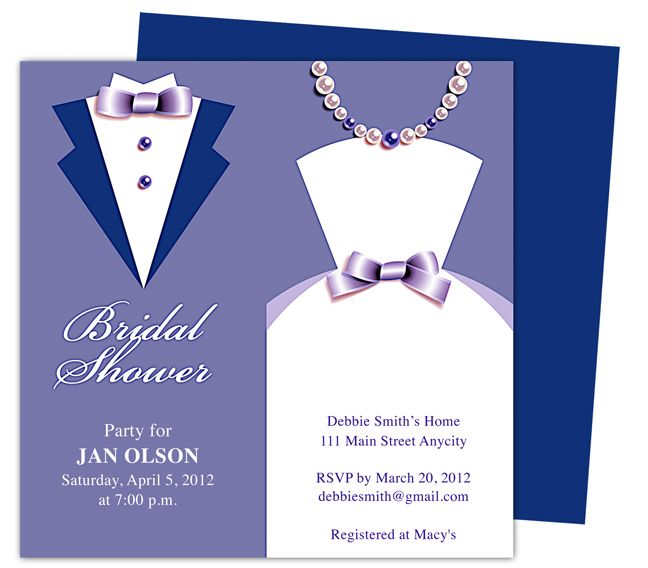 Couple Bridal Shower Invitations Template, available in Blue - invitation template publisher