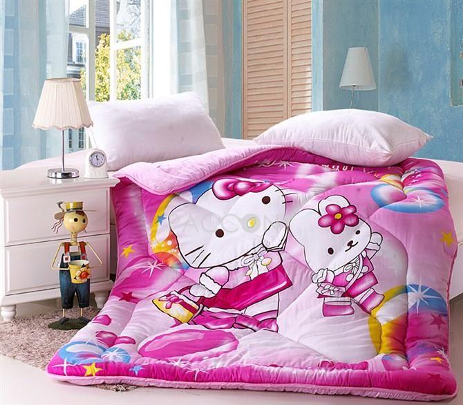 Cartoon Pink Animal Hello Ketty Cotton Twin Size Teenage
