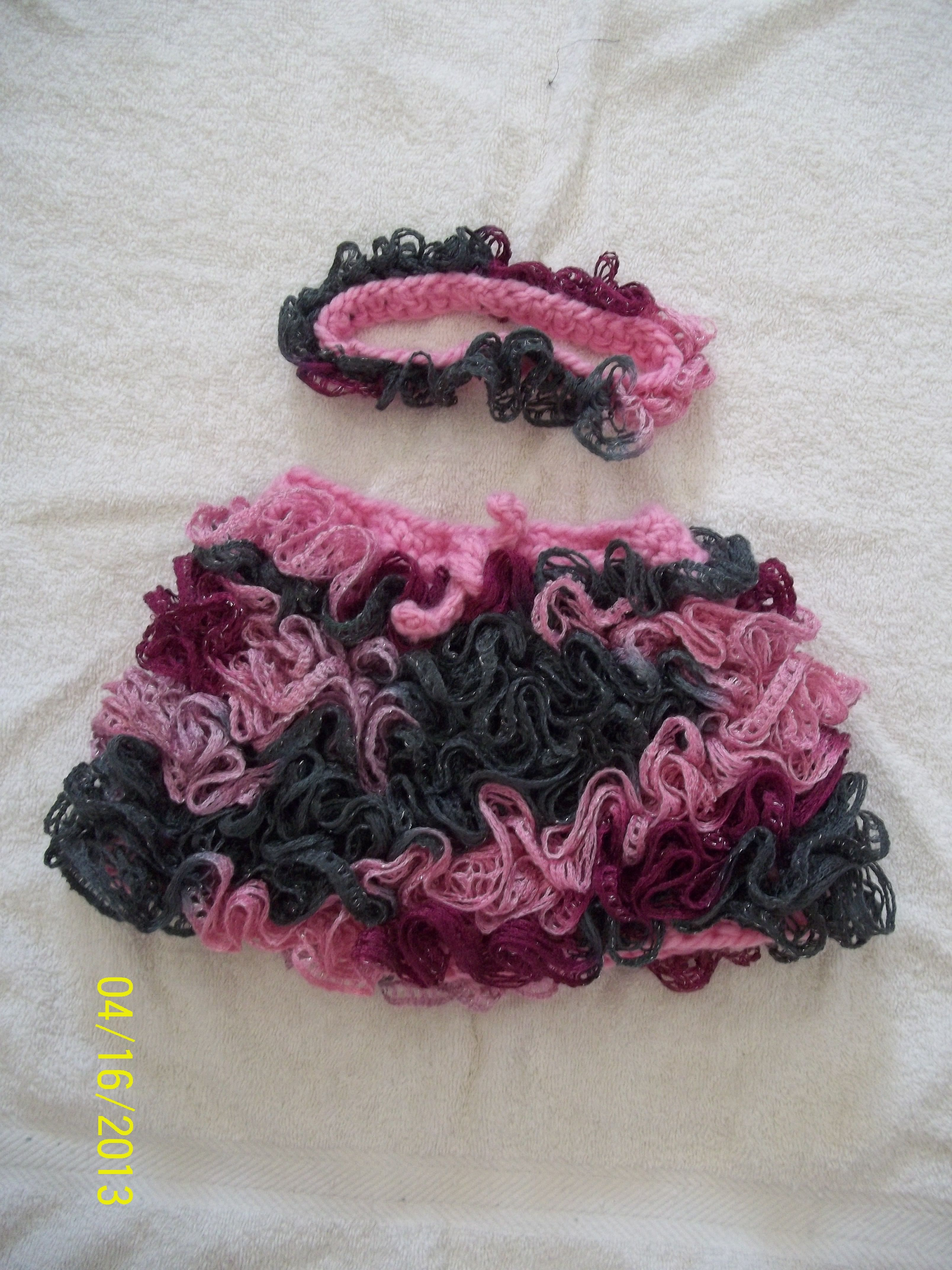 Crocheted Baby Skirt And Matching Headband Made With